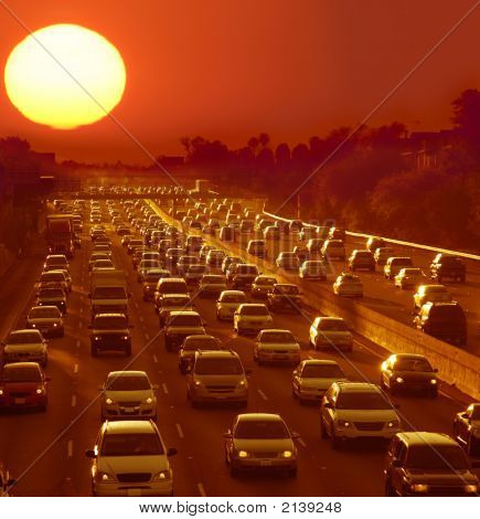 Los Angeles California during sunset traffic jam during rush hour poster
