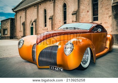 Barossa Valley South Australia January 16 2016: 1939 Lincoln Zephyr car parked near old church at main street of Tanunda on a day