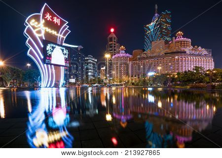 Macau China - October 14 2017: Night view of Macau (Macao). The Grand Lisboa is the tallest building in Macau (Macao) and the most distinctive part of its skyline