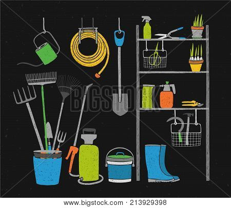Hand drawn gardening tools and potted plants storing on shelving, standing and hanging beside it on black background. Inside closet or shed for storage of agricultural equipment. Vector illustration