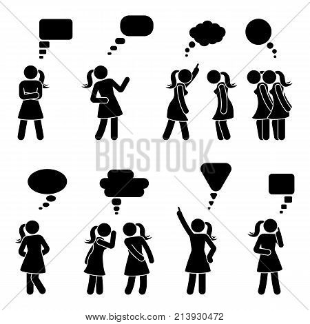 Stick figure dialog speech bubbles set. Talking thinking whispering body language woman conversation icon pictogram