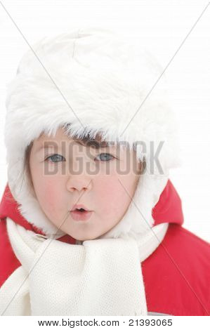 Portrait of baby in winter time