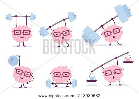 Very Strong Cartoon Brain Concept. Vector Set Of Illustration Of Pink Color Smile Brain With Glasses