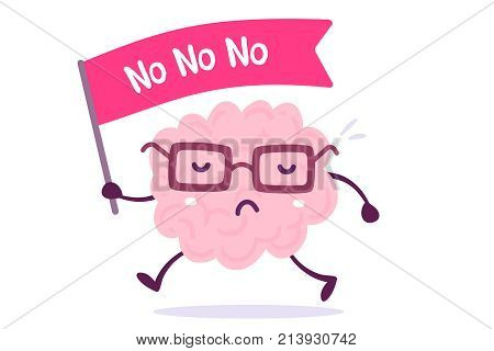 Vector Illustration Of Pink Color Human Brain With Glasses Goes With The Flag On White Background.