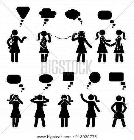 Stick figure dialog speech bubbles set. Talking thinking whispering body language woman conversation icon pictogram