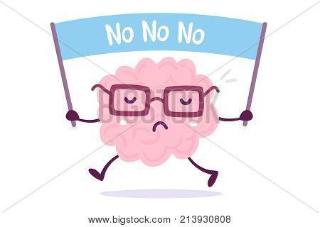 Objection Cartoon Brain Concept. Vector Illustration Of Pink Color Human Brain With Glasses Holds Th