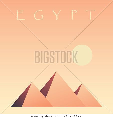 Pyramids of Egypt. Pyramids of Giza, symbol of Egypt. Vector illustration