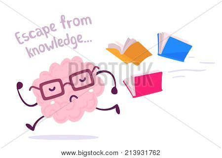Vector Illustration Of A Brain Avoiding Knowledge. Pink Color Lazy Brain With Glasses Running Away F