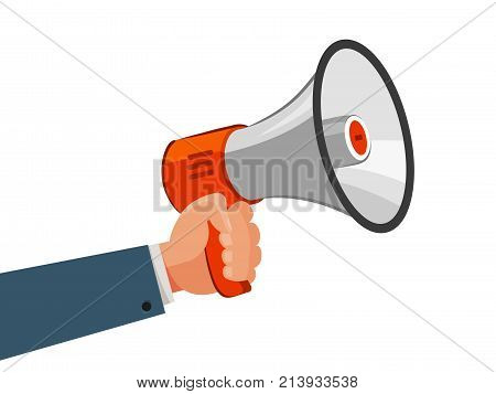 Loudspeaker or megaphone in hand. Advertising, marketing, announce, promotion concept. Cartoon vector illustration isolated on white background