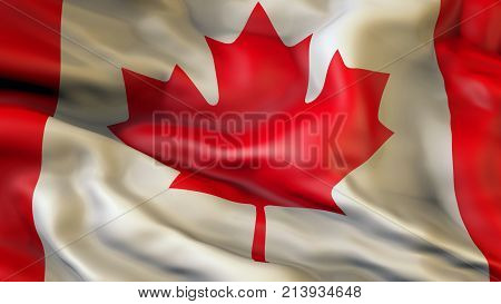 Waiving flag of Canada, Patriot of Canada,  illustration, 3d