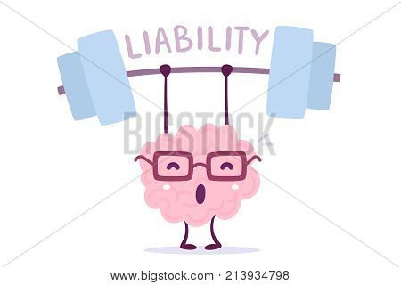 Vector Illustration Of Pink Color Smile Brain With Glasses Very Hard Lifts Weights On White Backgrou