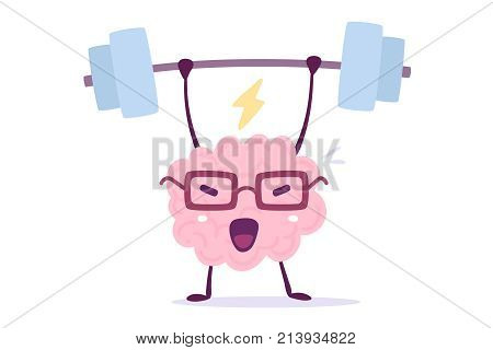 Vector Illustration Of Pink Color Smile Brain With Glasses Lifts Weights On White Background. Very S