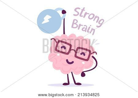 Very Strong Cartoon Brain Concept. Doodle Style. Vector Illustration Of Pink Color Smile Brain With