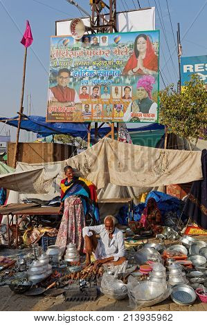 Pushkar, India, October 29, 2017 : Selling Under A Tent During The Festival. Pushkar Camel Fair Is O