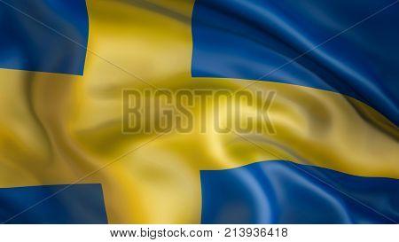 Waiving Flag of Sweden, Patriot . 3d, illustration