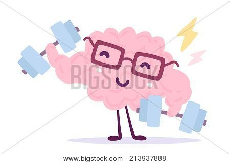 Vector Illustration Of Pink Color Smile Brain With Glasses Easy Dumbbell Swing On White Background.