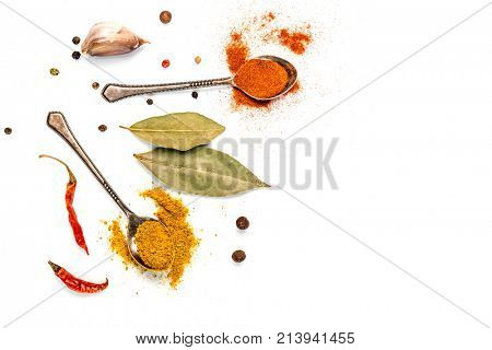 bay leaf, garlic and chilli pepper on a white background isolated