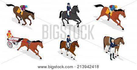 Isometric set Jockey on horse, Champion, Horse riding for Sport background. Stallion race track. Vector Illustration.
