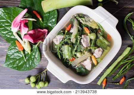 Northern Thai food (Kaeng Khae with pork), curry is made mainly with vegetables and herbs, Main ingredients is Piper sarmentosum leaves