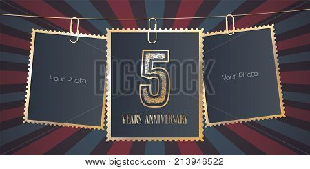 5 years anniversary vector emblem logo. Template design element greeting card with collage of empty photo frames on festive background for 5th anniversary