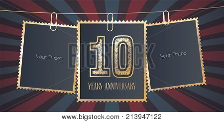 10 years anniversary vector emblem logo. Template design element greeting card with collage of empty photo frames on festive background for 10th anniversary