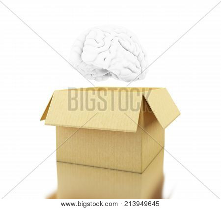3D Brain With Cardboard Box. Think Outside The Box.