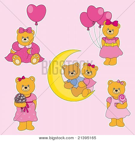 bears stickers. bears with pink dress. collection poster