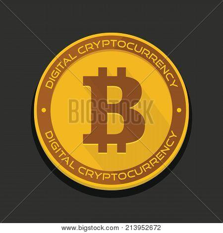 Cartoon golden bitcoin coin vector illustration for fintech net banking and blockchain concept. Golden bitcoin money internet finance coin with shadow
