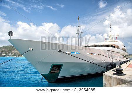 Yacht Boat At Pier In Philipsburg, St Maarten