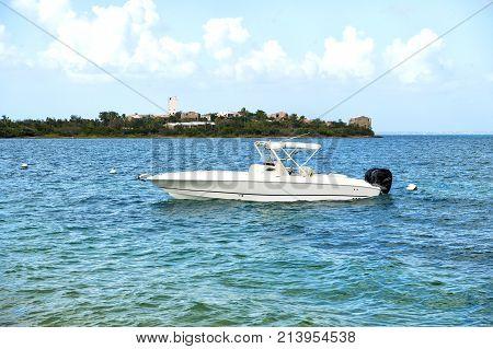 Motorboat At Anchor In Sea In Philipsburg, St Maarten