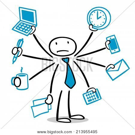 Cartoon business man is stressed and overloaded while multitasking