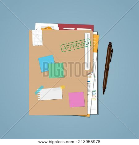 Flat folder with approved workers. Confidential information on paper sheets with notes and notes. Isolated on a blue background.
