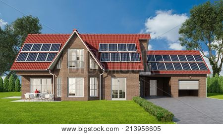 Family home with solar system or photovoltaic solar cell on roof (3D Rendering)