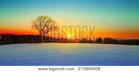 Snowy winter Christmas Landscape.Winter sunset over the snow-covered tree.