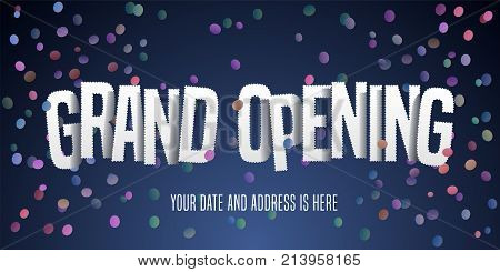 Grand opening vector banner poster illustration. Nonstandard design element with cut out letters for opening ceremony