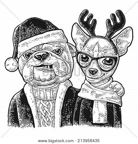 Dog Santa claus in hat coat sweater hug deer with glasses scarf horns coat. Merry Christmas handwriting lettering. lettering. Vintage black engraving illustration. Isolated on white background