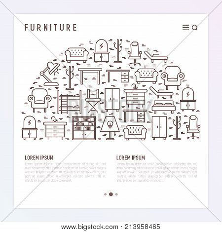 Furniture concept in half circle with thin line icons of coach, bookcase, bed,  dresser, chair, lamp, floor hanger. Modern vector illustration for banner, web page, print media.