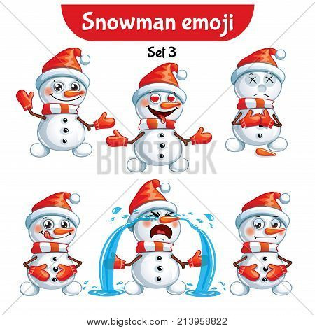 collection sticker emoji emoticon illustration happy character sweet, cute snowman