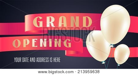 Grand opening vector illustration background for new store with balloons. Template banner design element for opening event red ribbon cutting ceremony