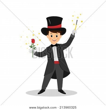Magician with rose and magic wand. Isolated on white background. Cartoon style. Vector illustration