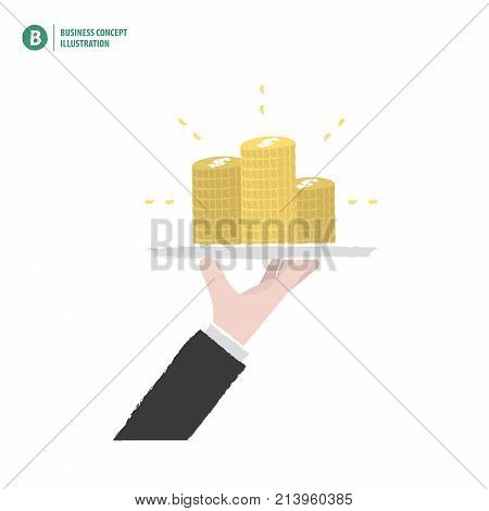 Hand Holding Money Stack On A Platter Meaning Profit Or Invesment Or Growth On White Background Illu
