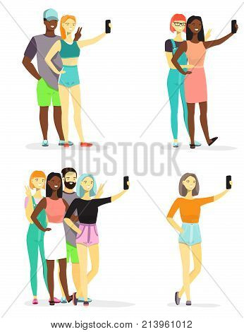Group of young people taking selfie using smart phone vector flat style design illustration isolated on white background.