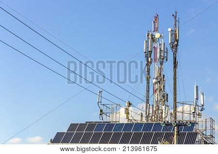Three mobile phone communication tower transmission signal.