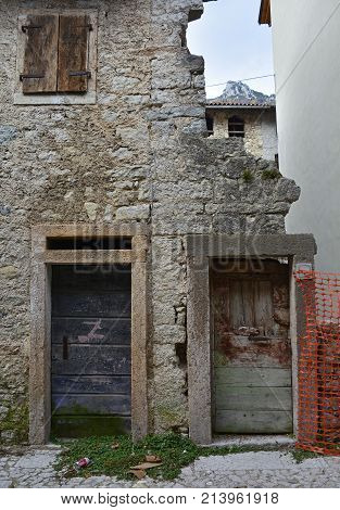 A derelict building in hill village of Erto in Friuli Venezia Giulia north east Italy. The village is famous locally for having being evacuated following the 1963 Vajont Dam disaster.