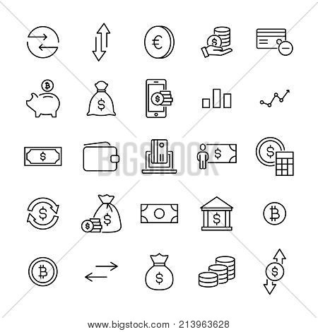 Simple set of investments related outline icons. Elements for mobile concept and web apps. Thin line vector icons for website design and development, app development. Premium pack.