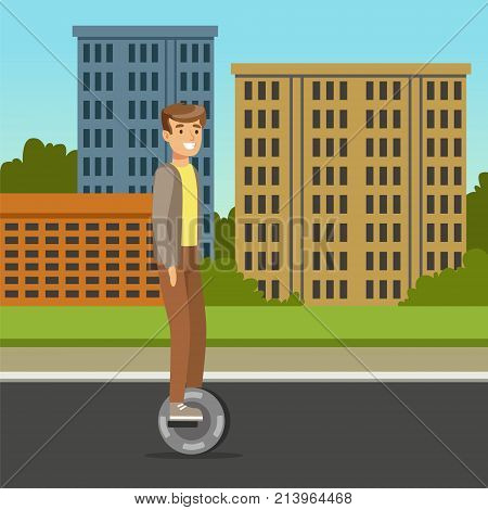 Young man riding on one wheel electric scooter on city background, intelligent and fashionable personal electric vehicle vector illustration, web banner
