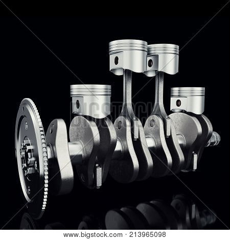V4 engine pistons and cog on black background. Pistons and crankshaft. Four cylinder engine. V4 Car engine. Concept of modern car engine. 3D rendering