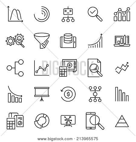 Set of analysis thin line icons. High quality pictograms of analytics. Modern outline style icons collection.