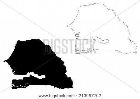 Senegal map vector illustration , scribble sketch Republic of Senegal poster