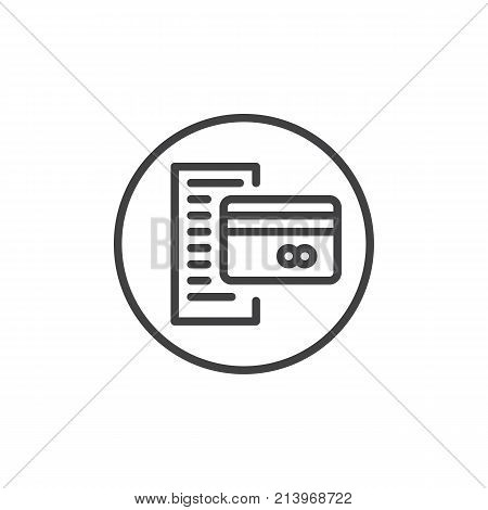 Bank statement with credit card line icon, outline vector sign, linear style pictogram isolated on white. Bill symbol, logo illustration. Editable stroke